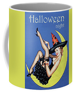 Pin Up Witch On Moon Coffee Mug