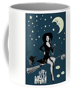 Pin Up Witch Riding A Broom Coffee Mug