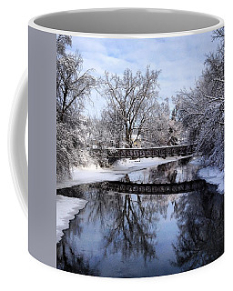 Pine River Foot Bridge From Superior In Winter Coffee Mug