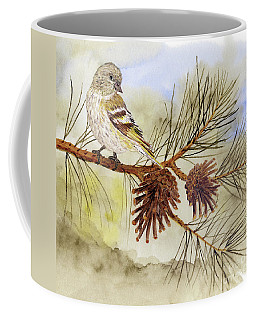 Pine Siskin Among The Pinecones Coffee Mug
