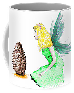 Pine Tree Fairy And Pine Cone Coffee Mug