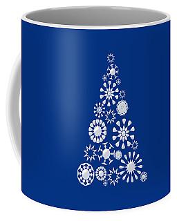 Pine Tree Snowflakes - Dark Blue Coffee Mug