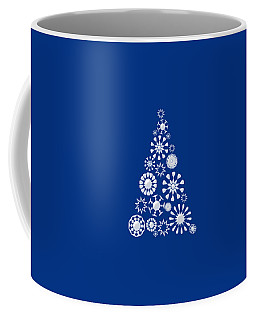 Pine Tree Snowflakes - Dark Blue Coffee Mug