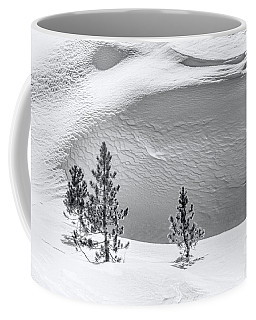 Pines In Snow Drifts Black And White Coffee Mug