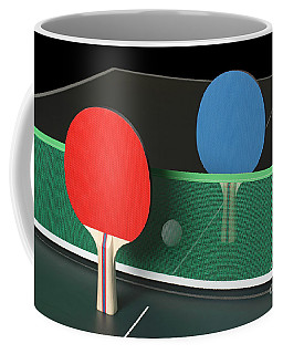 Ping Pong Paddles On Table, Standing Upright Coffee Mug