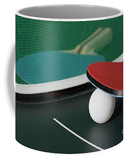 Ping Pong Paddles On Table With Net Coffee Mug