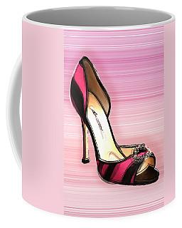 Pink And Black Stripe Shoe Coffee Mug