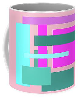 Pink And Blue Blocks Abstract Coffee Mug