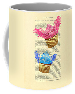 Pink And Blue Cupcakes Vintage Dictionary Art Coffee Mug