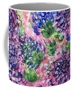 Pink And Blue Flower Flurry Coffee Mug