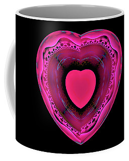 Pink And Red Heart On Black Coffee Mug by Matthias Hauser