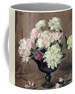 Pink And White Peonies In Footed Silver Bowl Coffee Mug