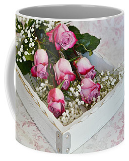 Pink And White Roses In White Box Coffee Mug