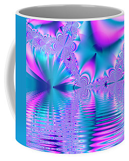 Pink, Blue And Turquoise Fractal Lake Coffee Mug