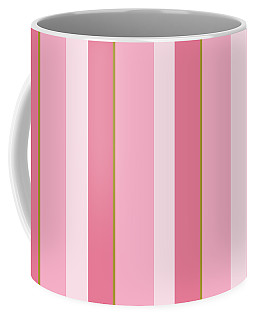 Coffee Mug featuring the mixed media Pink Blush Stripe Pattern by Christina Rollo