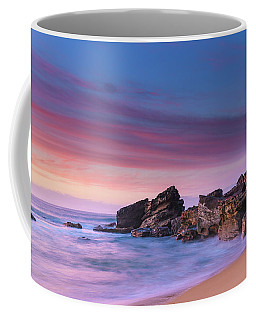 Pink Clouds And Rocky Headland Seascape Coffee Mug