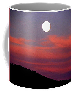 Coffee Mug featuring the photograph Pink Clouds With Moon by Joseph Frank Baraba