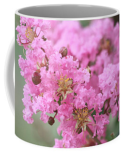Coffee Mug featuring the photograph Pink Crepe Myrtle Close-up by Sheila Brown