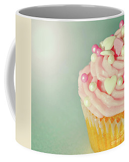 Coffee Mug featuring the photograph Pink Cupcake With Lovehearts by Lyn Randle