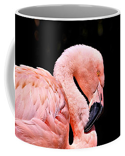Pink Flamingo On Black Coffee Mug