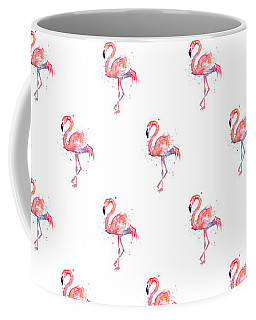 Pink Flamingo Watercolor Pattern Coffee Mug