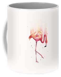Pink Flamingo Watercolor Rain Coffee Mug