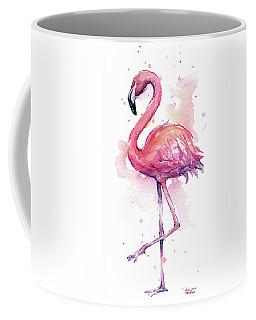 Pink Flamingo Watercolor Tropical Bird Coffee Mug