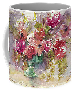 Pink Floral Impressions Coffee Mug by Judith Levins