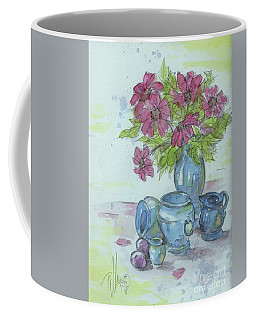 Pink Flower With Blue Pottery Coffee Mug