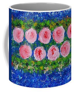 Pink Flowers On Green And Blue Coffee Mug