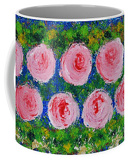 Pink Flowers On Green And Blue Coffee Mug