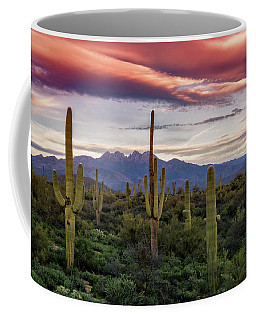 Coffee Mug featuring the photograph Pink Four Peaks Sunset  by Saija Lehtonen