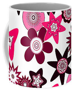 Pink Funky Flowers Coffee Mug by Methune Hively