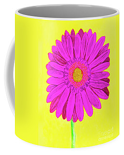 Pink Gerbera On Yellow, Watercolor Coffee Mug