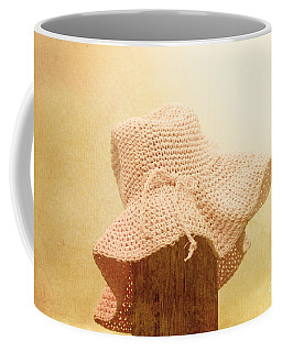 Pink Girls Hat On Farmyard Fence Post Coffee Mug