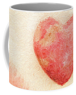 Coffee Mug featuring the photograph Pink Heart Soft And Painterly by Carol Leigh