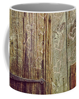 Coffee Mug featuring the photograph Pink Hearts On Antique Wood Door by Brooke T Ryan