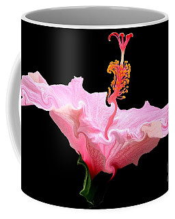 Coffee Mug featuring the photograph Pink Hibiscus With Curlicue Effect by Rose Santuci-Sofranko
