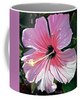 Pink Hibiscus With Raindrops Coffee Mug