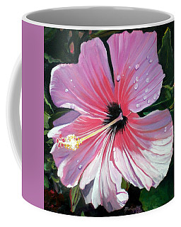 Pink Hibiscus With Raindrops Coffee Mug by Marionette Taboniar