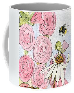 Pink Hollyhock And White Coneflowers Coffee Mug