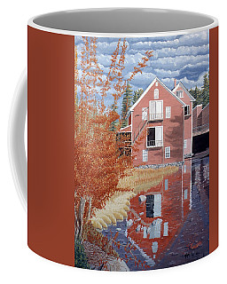 Coffee Mug featuring the painting Pink House In Autumn by Dominic White