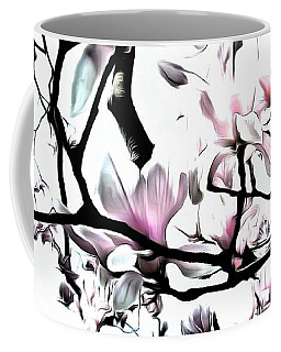 Coffee Mug featuring the photograph Pink Magnolia - In Black And White  by Janine Riley