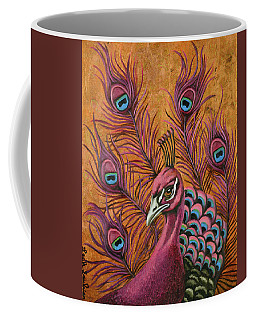Coffee Mug featuring the painting Pink Peacock by Leah Saulnier The Painting Maniac