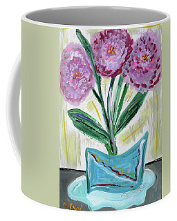 Pink Peonies-gray Table Coffee Mug