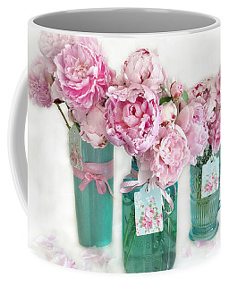 Coffee Mug featuring the photograph Pink Peonies In Aqua Vases Romantic Watercolor Print - Pink Peony Home Decor Wall Art by Kathy Fornal