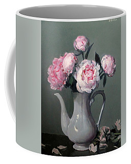 Pink Peonies In White Coffeepot Coffee Mug