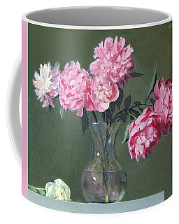 Pink Peonies Walking The Plank Coffee Mug