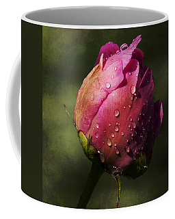 Pink Peony Bud With Dew Drops Coffee Mug