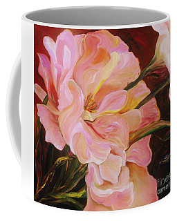 Coffee Mug featuring the painting Pink Peony by Donna Hall